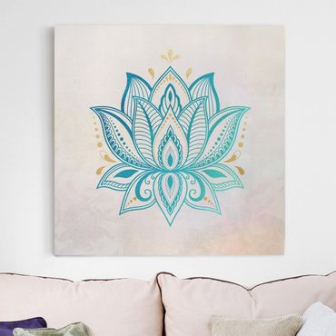 Leinwandbild - Lotus Illustration Mandala gold blau - Quadrat 1:1
