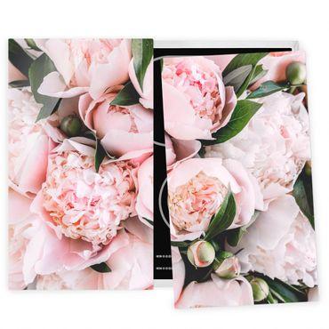 Herdabdeckplatte Glas - Rosa Pfingstrosen mit Blättern - 52x80cm