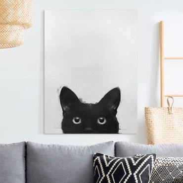 Leinwandbild - Illustration Schwarze Katze auf Weiß Malerei - Hochformat 4:3
