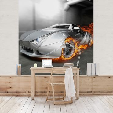 Fototapete Supercar in Flammen