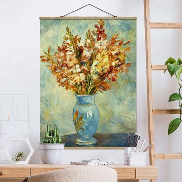 Stoffbild mit Posterleisten - Auguste Renoir - Gladiolen in Vase - Hochformat 4:3