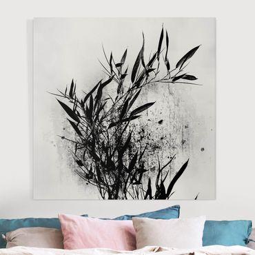 Leinwandbild - Grafische Pflanzenwelt - Schwarzer Bambus - Quadrat 1:1