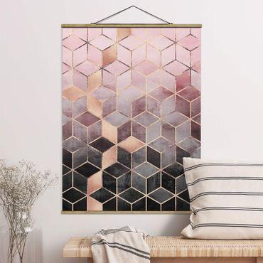 Stoffbild mit Posterleisten - Elisabeth Fredriksson - Rosa Grau goldene Geometrie - Hochformat 4:3
