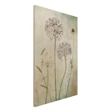 Holzbild - Lauchblüten in Pastell - Hochformat 3:2