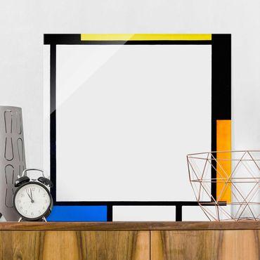 Glasbild - Piet Mondrian - Komposition II - Quadrat 1:1