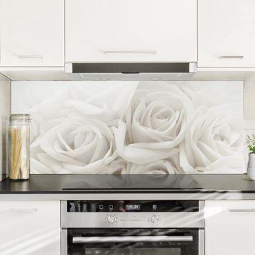 Spritzschutz Glas - Weiße Rosen - Panorama - 5:2