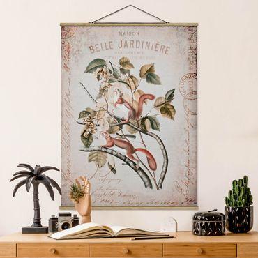 Stoffbild mit Posterleisten - Shabby Chic Collage - Eichhörnchen - Hochformat 4:3