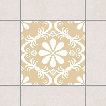Fliesenaufkleber - Blumendesign Light Brown Braun