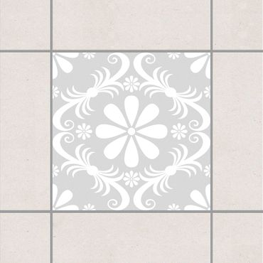 Fliesenaufkleber - Blumendesign Light Grey Grau