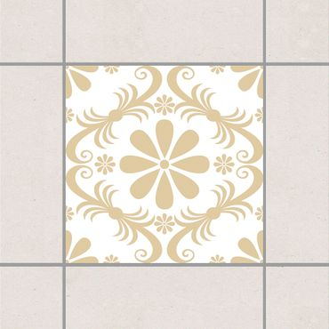 Fliesenaufkleber - Blumendesign White Light Brown Braun