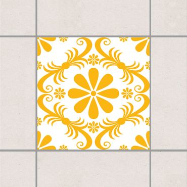 Fliesenaufkleber - Blumendesign White Melon Yellow Gelb