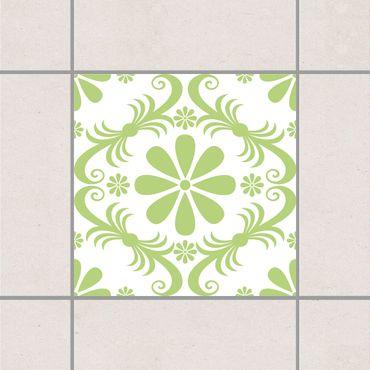 Fliesenaufkleber - Blumendesign White Spring Green