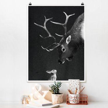Poster - Illustration Hirsch und Hase Schwarz Weiß Malerei - Hochformat 4:3