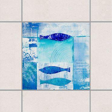 Fliesenaufkleber - Fish in the Blue