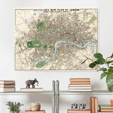 Glasbild - Vintage Stadtplan London - Querformat 3:4
