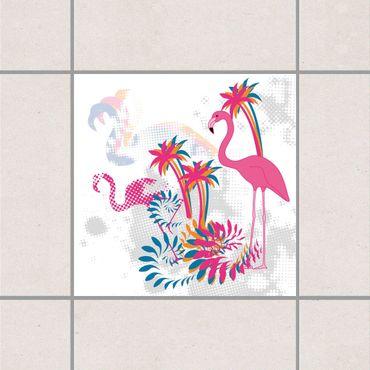 Fliesenaufkleber - Tanz der Flamingos