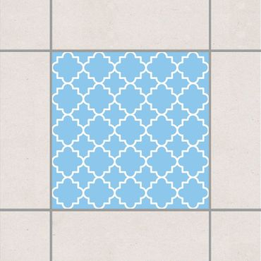Fliesenaufkleber - Traditional Quatrefoil Light Blue Blau