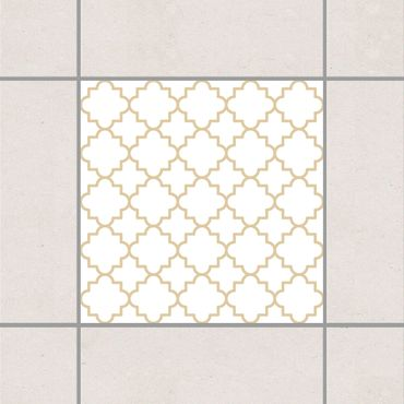Fliesenaufkleber - Traditional Quatrefoil White Light Brown