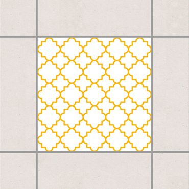 Fliesenaufkleber - Traditional Quatrefoil White Melon Yellow