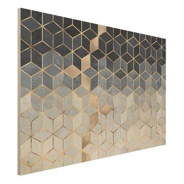 Holzbild - Blau Weiß goldene Geometrie - Querformat 2:3