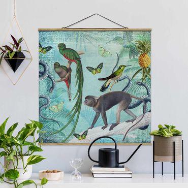 Stoffbild mit Posterleisten - Colonial Style Collage - Äffchen und Paradiesvögel - Quadrat 1:1