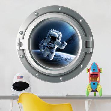Wandtattoo - 3D Bullauge Astronaut im Weltall