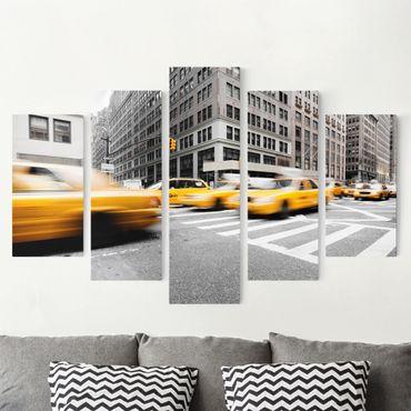 Leinwandbild 5-teilig - Rasantes New York