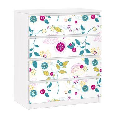 Möbelfolie für IKEA Malm Kommode - selbstklebende Folie Blumencocktail