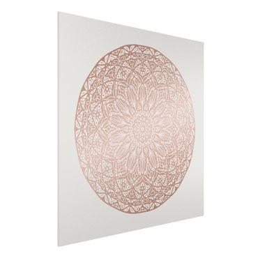 Forex Fine Art Print - Mandala Ornament in Kupfergold - Quadrat 1:1