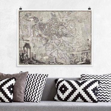 Poster - Vintage Stadtplan Rom - Querformat 3:4