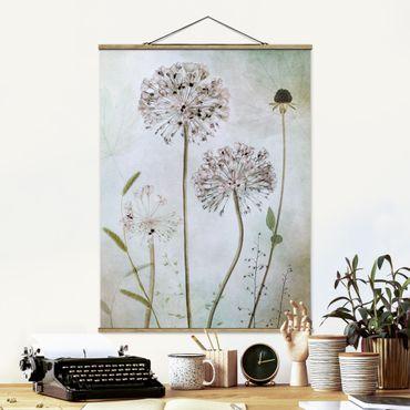 Stoffbild mit Posterleisten - Lauchblüten in Pastell - Hochformat 3:4