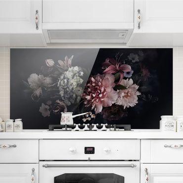 Spritzschutz Glas - Blumen mit Nebel auf Schwarz - Querformat - 2:1