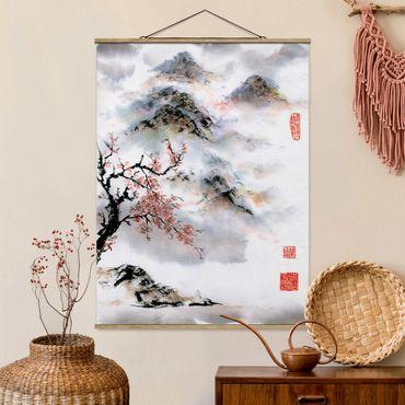 Stoffbild mit Posterleisten - Japanische Aquarell Zeichnung Kirschbaum und Berge - Hochformat 3:4