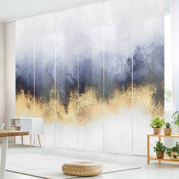 Schiebegardinen Set - Elisabeth Fredriksson - Wolkenhimmel mit Gold - 6 Flächenvorhänge