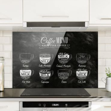Spritzschutz Glas - Kaffeesorten Kreidetafel - Querformat - 3:2