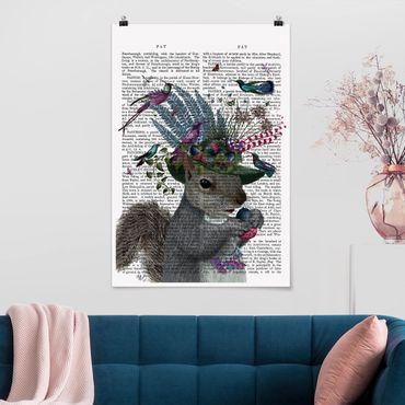 Poster - Vogelfänger - Eichhörnchen mit Eicheln - Hochformat 3:2