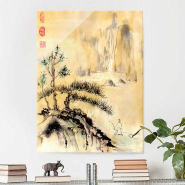 Glasbild - Japanische Aquarell Zeichnung Zedern und Berge - Hochformat 4:3