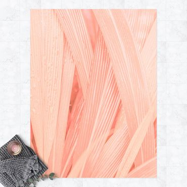 Vinyl-Teppich - Palmenblätter Rosa - Hochformat 3:4