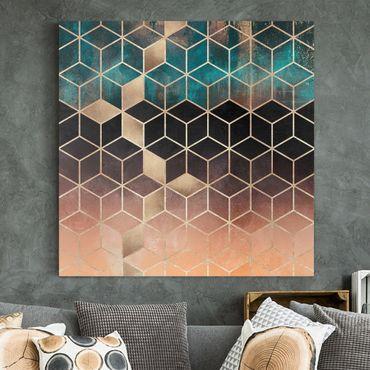 Leinwandbild - Türkis Rosé goldene Geometrie - Quadrat 1:1