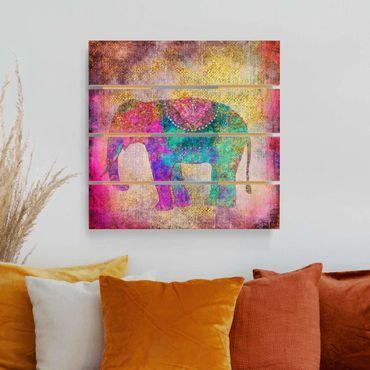 Holzbild - Bunte Collage - Indischer Elefant - Quadrat 1:1