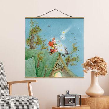 Stoffbild mit Posterleisten - Frida und Kater Pumpernickel lassen die Sterne frei - Quadrat 1:1