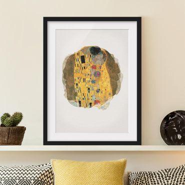 Bild mit Rahmen - Wasserfarben - Gustav Klimt - Der Kuss - Hochformat 4:3