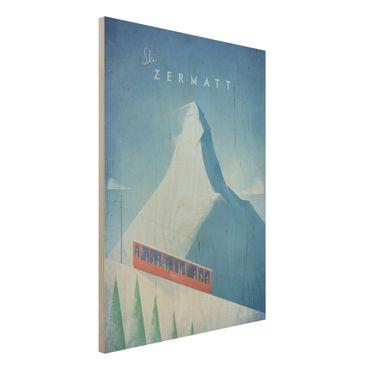 Holzbild - Reiseposter - Zermatt - Hochformat 4:3
