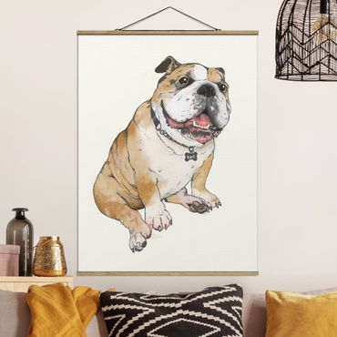 Stoffbild mit Posterleisten - Laura Graves - Illustration Hund Bulldogge Malerei - Hochformat 4:3
