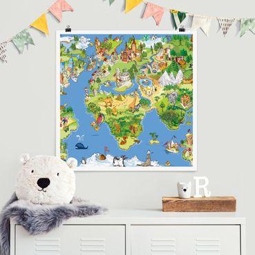 Poster - Great And Funny Worldmap - Quadrat 1:1