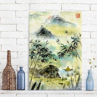 Glasbild - Japanische Aquarell Zeichnung Bambuswald - Hochformat 3:2