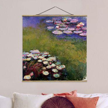 Stoffbild mit Posterleisten - Claude Monet - Seerosen - Quadrat 1:1
