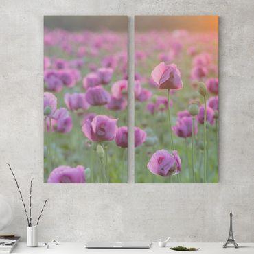 Leinwandbild 2-teilig - Violette Schlafmohn Blumenwiese im Frühling - Hoch 1:2