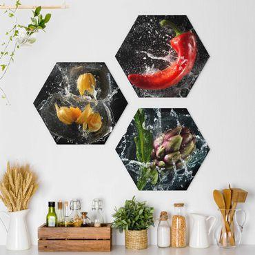 Hexagon Bild Forex 3-teilig - Paprika Artischocke Physalis Splash