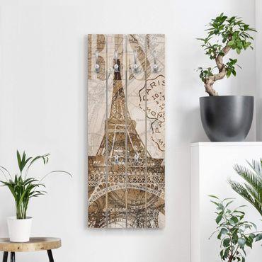 Wandgarderobe Holz - Shabby Chic Collage - Paris - Haken chrom Hochformat